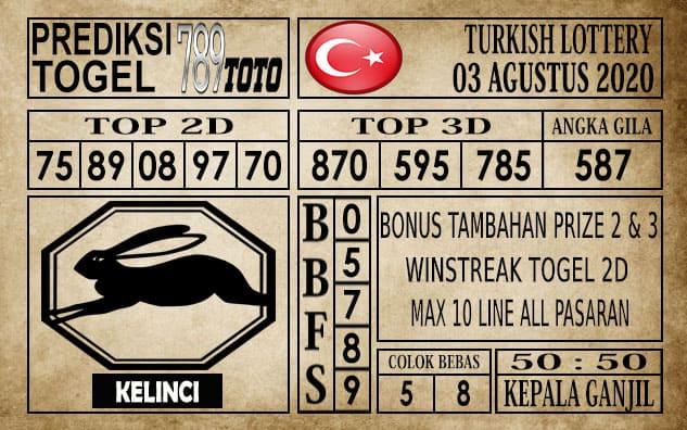 Prediksi Turkish Lottery Hari ini 03 Agustus 2020