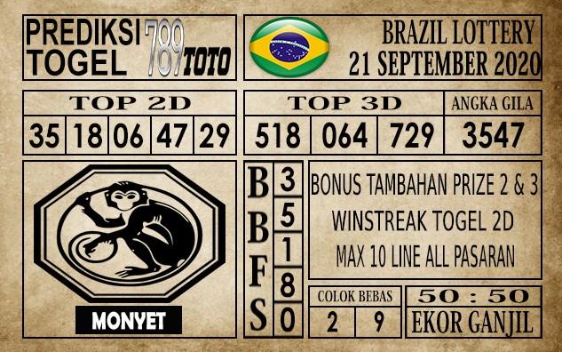 Prediksi Brazil Lottery Hari Ini 21 September 2020