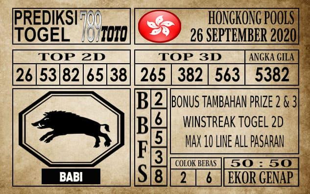 Prediksi Hongkong Pools Hari Ini 26 September 2020