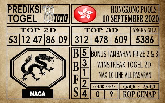 Prediksi Hongkong Pools Hari Ini 10 September 2020