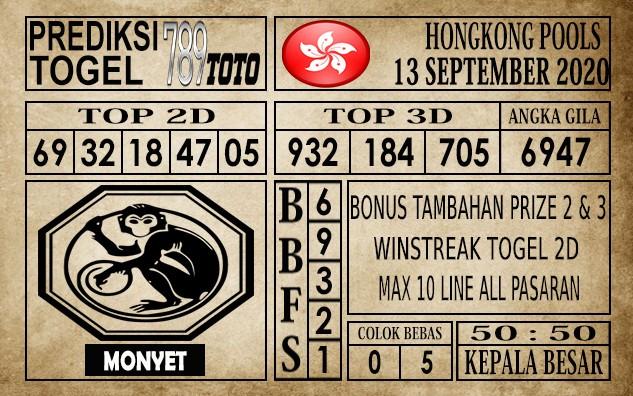 Prediksi Hongkong Pools Hari Ini 13 September 2020