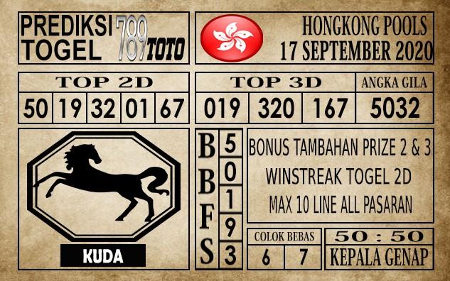 Prediksi Hongkong Pools Hari Ini 17 September 2020
