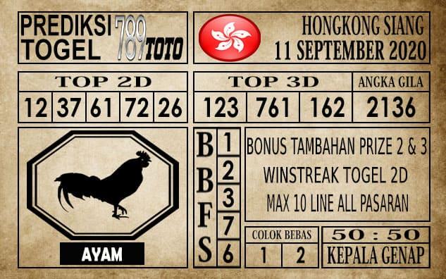 Prediksi Hongkong Siang Hari Ini 11 September 2020