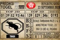 Prediksi Hongkong Siang Hari Ini 23 September 2020