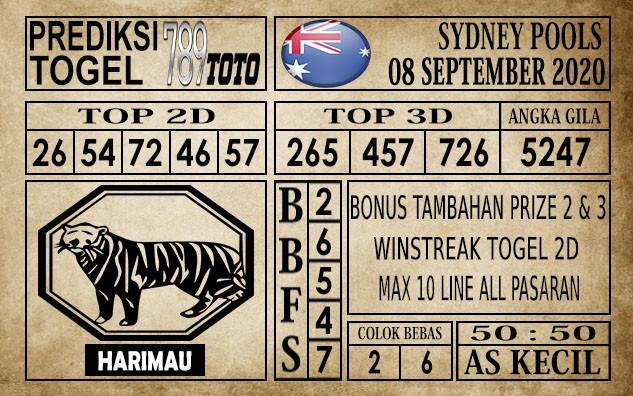 Prediksi Sydney Pools Hari Ini 08 September 2020