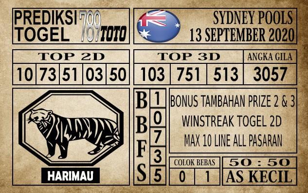 Prediksi Sydney Pools Hari Ini 13 September 2020