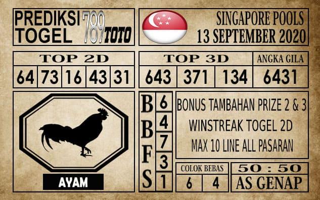 Prediksi Singapore Pools Hari ini 13 September 2020