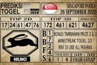 Prediksi Singapore Pools Hari ini 26 September 2020