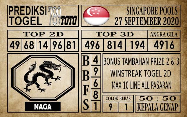 Prediksi Singapore Pools Hari ini 27 September 2020