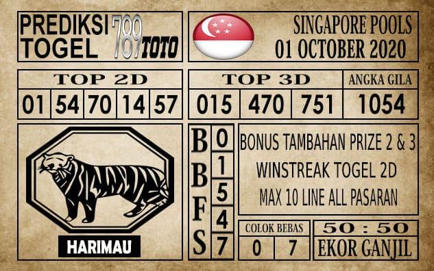 Prediksi Singapore Pools Hari ini 01 Oktober 2020