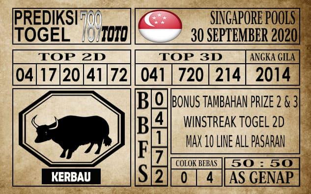 Prediksi Singapore Pools Hari ini 30 September 2020