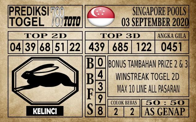 Prediksi Singapore Pools Hari ini 03 September 2020