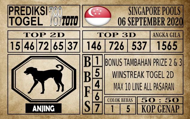 Prediksi Singapore Pools Hari ini 06 September 2020