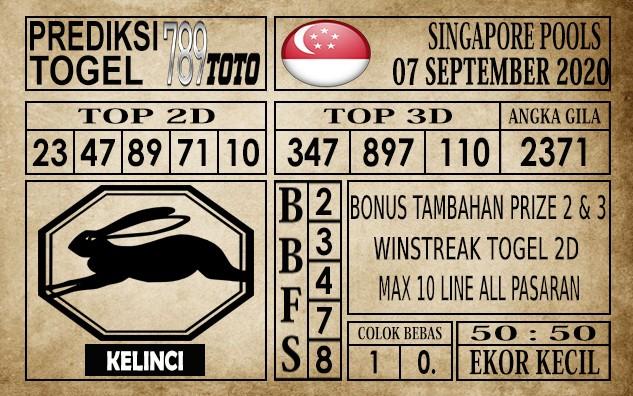 Prediksi Singapore Pools Hari ini 07 September 2020