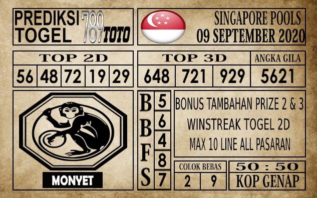 Prediksi Singapore Pools Hari ini 09 September 2020