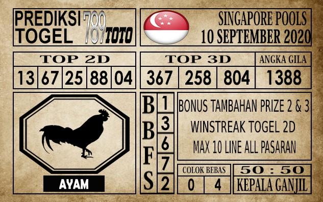 Prediksi Singapore Pools Hari ini 10 September 2020