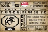 Prediksi Singapore Pools Hari ini 14 September 2020