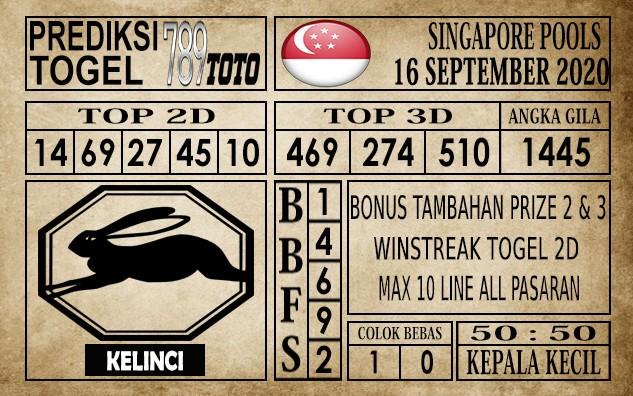 Prediksi Singapore Pools Hari ini 16 September 2020