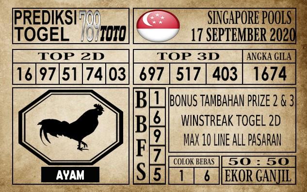 Prediksi Singapore Pools Hari ini 17 September 2020