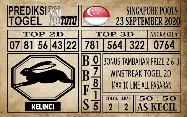 Prediksi Singapore Pools Hari ini 23 September 2020
