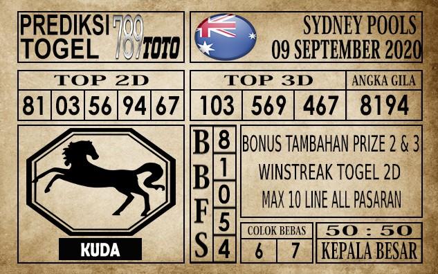 Prediksi Sydney Pools Hari Ini 09 September 2020