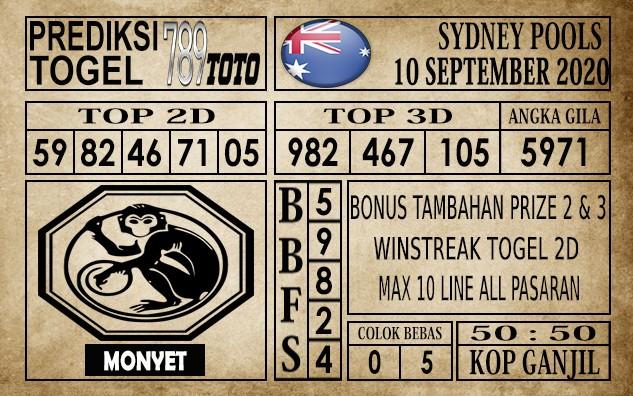 Prediksi Sydney Pools Hari Ini 10 September 2020