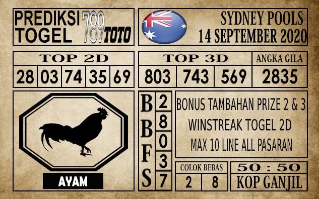 Prediksi Sydney Pools Hari Ini 14 September 2020