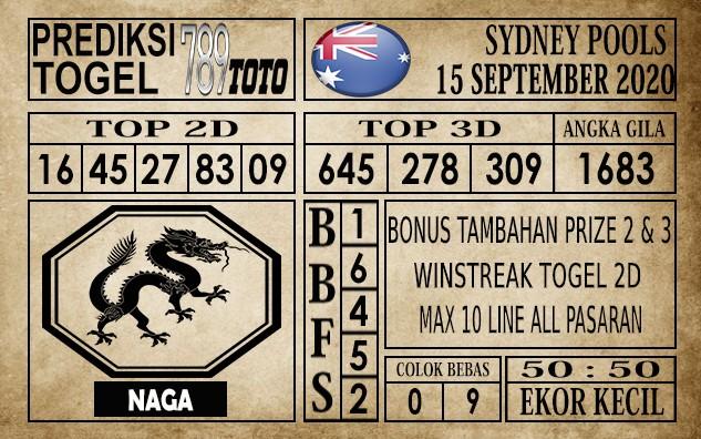 Prediksi Sydney Pools Hari Ini 15 September 2020