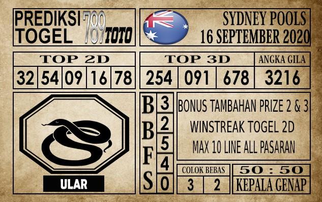 Prediksi Sydney Pools Hari Ini 16 September 2020