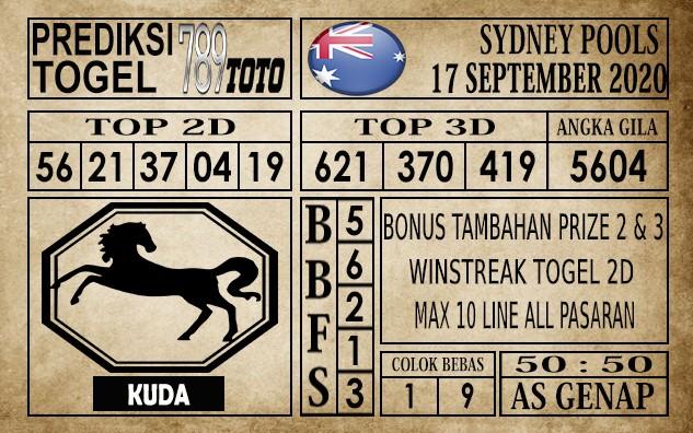 Prediksi Sydney Pools Hari Ini 17 September 2020