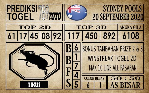 Prediksi Sydney Pools Hari Ini 20 September 2020