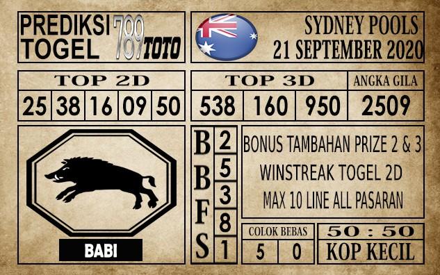 Prediksi Sydney Pools Hari Ini 21 September 2020