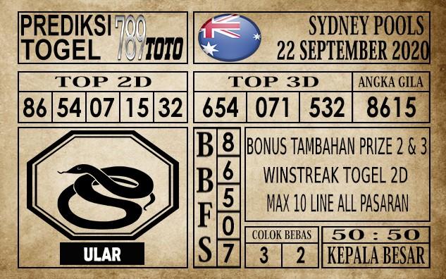 Prediksi Sydney Pools Hari Ini 22 September 2020