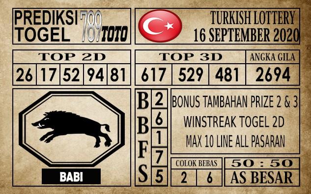 Prediksi Turkish Lottery Hari Ini 16 September 2020