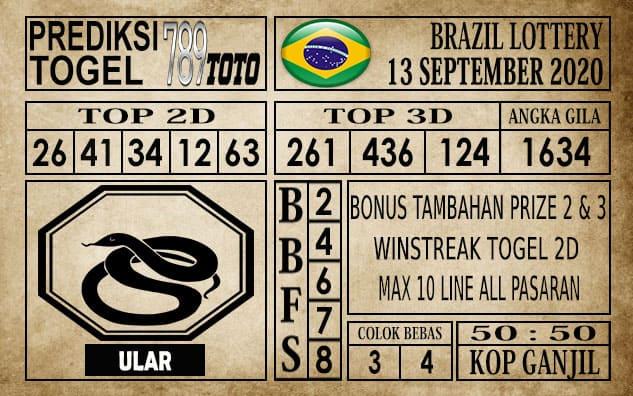 Prediksi Brazil Lottery Hari Ini 13 September 2020