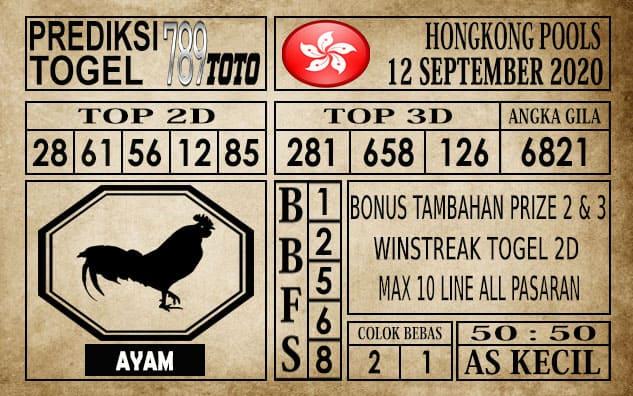 Prediksi Hongkong Pools Hari Ini 12 September 2020