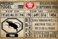Prediksi Hongkong Pools Hari Ini 24 September 2020