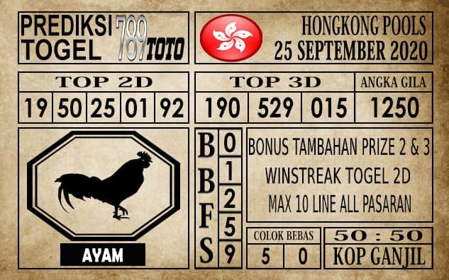 Prediksi Hongkong Pools Hari Ini 25 September 2020