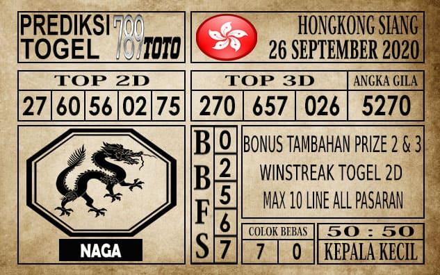 Prediksi Hongkong Siang Hari ini 26 September 2020