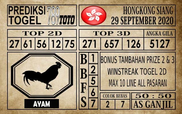 Prediksi Hongkong Siang Hari ini 29 September 2020