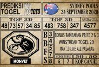 Prediksi Sydney Pools Hari ini 24 September 2020