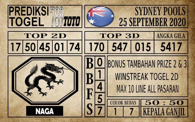 Prediksi Sydney Pools Hari ini 25 September 2020