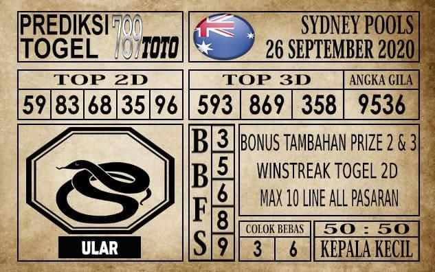 Prediksi Sydney Pools Hari ini 26 September 2020