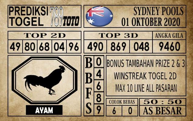 Prediksi Sydney Pools Hari ini 01 Oktober 2020