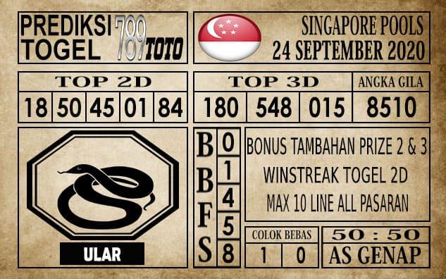 Prediksi Singapore Pools Hari ini 24 September 2020