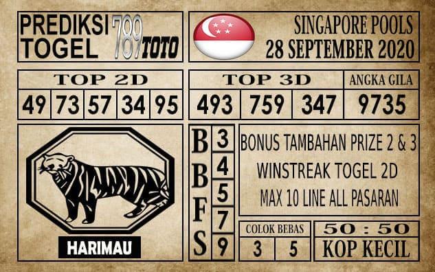 Prediksi Singapore Pools Hari ini 28 September 2020