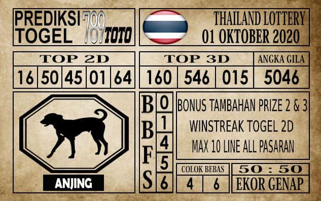 Prediksi Thailand Lottery Hari Ini 01 Oktober 2020