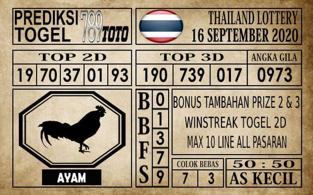 Prediksi Thailand Lottery Hari Ini 16 September 2020