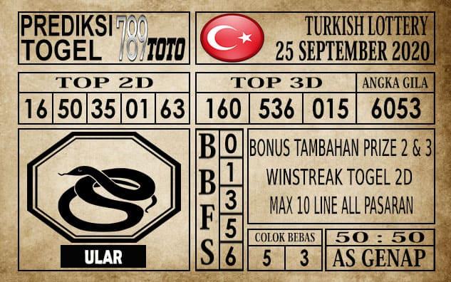 Prediksi Turkish Lottery Hari ini 25 September 2020