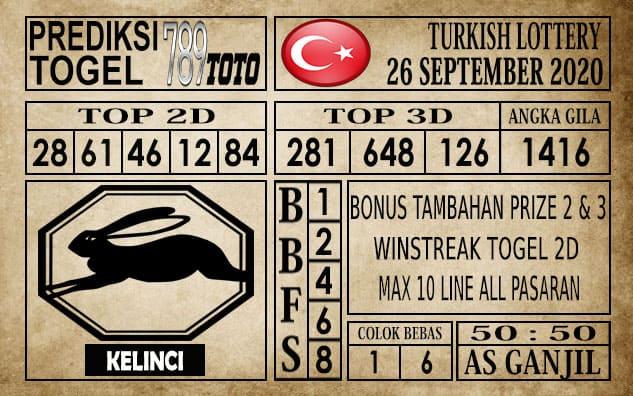 Prediksi Turkish Lottery Hari ini 26 September 2020